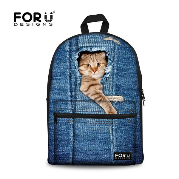 Nice- FORUDESIGNS Cute Animal Backpack 2D Dog Cat Print Girls School Backpack Children Backpack For Kids Casual Women Casual Rucksack