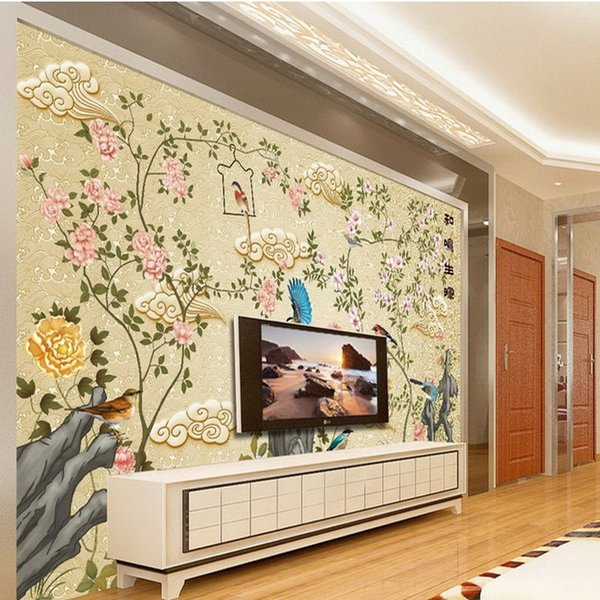 Free Shipping Chinese Hand painted Flowers Birds Decorative Mural ...
