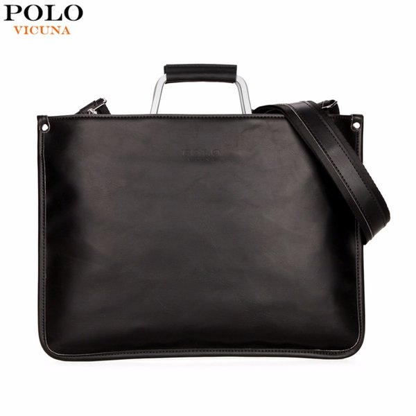 Wholesale- VICUNA POLO Simple Design Leather Men Briefcase With Metal Handle Business Men Document Bag Classic OL Mens Bags Men Handbag
