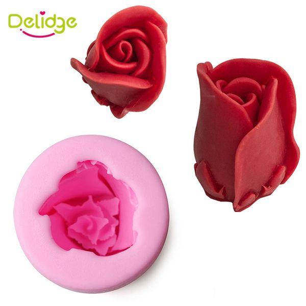 10 pcs Cylindrical Shape Rose Fower Cake Mold Silicone Flower Design Chocolate Mold Sweet Love Soap Mould Handmade Fondant Tool