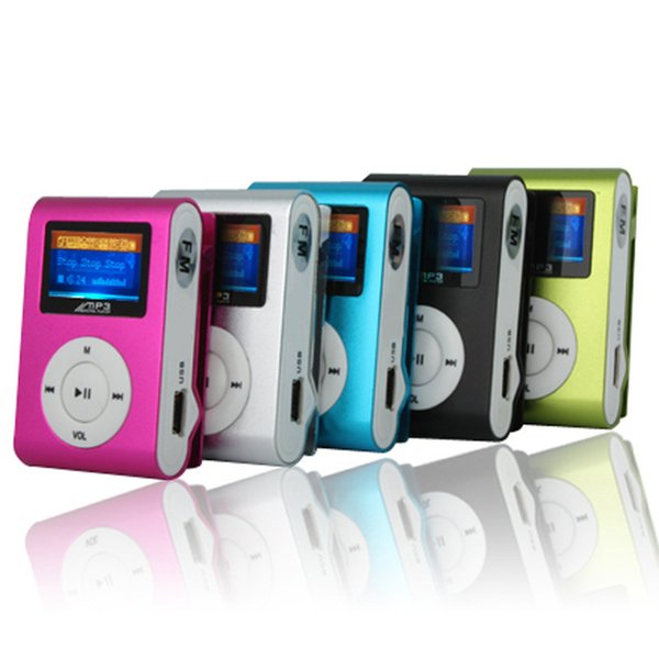 best selling Mini Clip Mp3 Music Player With LCD Screen FM Radio Portable Digital 5 Colors New Wholesale 100pcs lot Free DHL Shipping