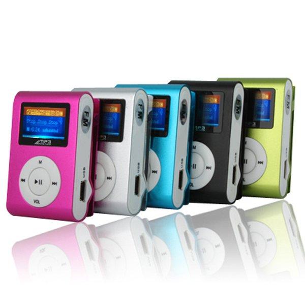 Mini Clip Mp3 Music Player Com Tela de LCD Rádio FM Portátil Digital 5 Cores Novo Atacado 100 pçs / lote Frete Grátis DHL