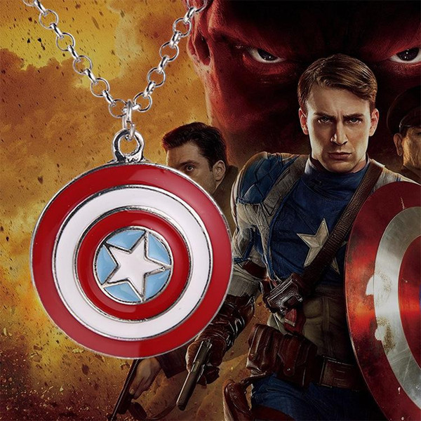 Wholesale Captain America shield necklace super hero necklaces pendants for women and men Avengers necklace accessories for kids gifts