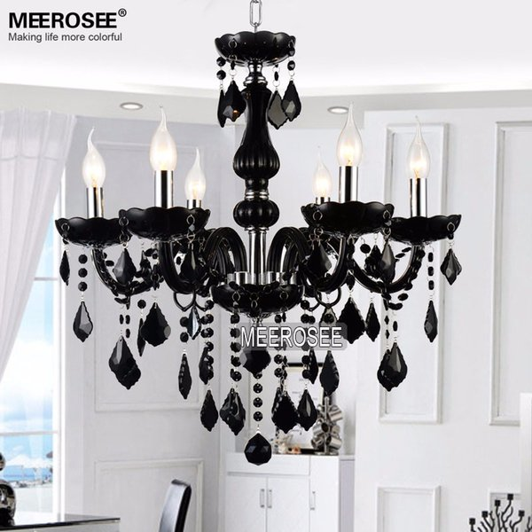 Small Crystal Chandelier Lamp Fixture Black Crystal Light Candle Glass Chandelier Lighting Luster Living Room MDS01