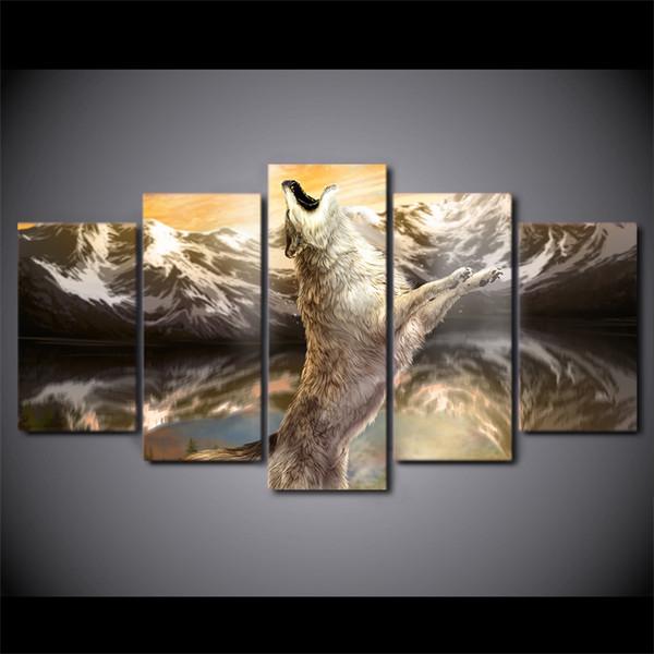 5 Pcs / Ensemble Encadrée HD Imprimé Loup Animal Ciel Criots Moderne Maison Mur Décor Affiche Toile Art Peinture Contemporain Wall Art