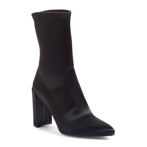 fashions spring champagne satins ankle boots woman stretch frabic western botas european slip on knight booties woman big 43