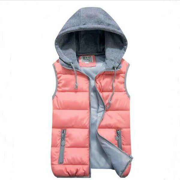 Kadın pamuk yelek yün yaka kapşonlu aşağı yelek Sıcak yüksek kalite Marka Yeni kadın kış sıcak JacketOuterwear Kalınlaşmak