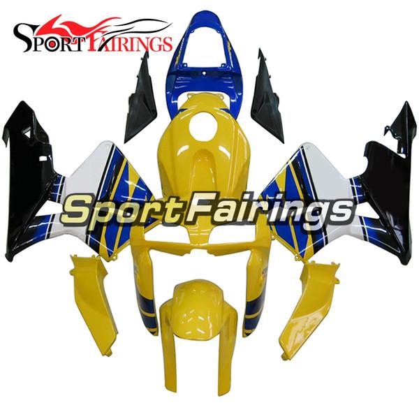 Inyección completa Plásticos ABS Cubiertas amarillas Azul blanco Carenado para Honda CBR600RR F5 05 06 Año 2005 2006 Kit de carenado de motocicleta Revestimiento completo