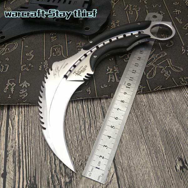 karambits Espejo luz escorpión garra cuchillo acampar al aire libre selva supervivencia batalla karambit cs cuchillos de caza de cuchilla fija herramienta de autodefensa