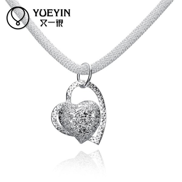 Free Shipping Silver jewelry, European and American creative heart pendant, Silver Lovers Necklace