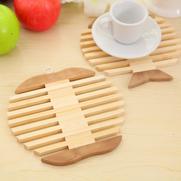 Wholesale- Heat insulation mat Novelty Items For Kitchen Lovely Fish Apple Pattern Wooden Placemat Creative Potholder Cup Coaster