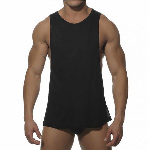 Homens Musculação Sexy top de fitness sem mangas colete camisa branca preto  Muscle tops Hot Solid 18c44e0e456