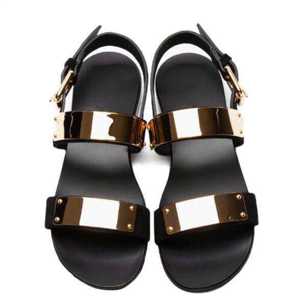 Marka Yeni ABD 6-12 45 46 Erkekler Hakiki Deri Gladyatör Sandalet Metal Perçin Düz Thongs Roma Yaz Plaj Sandalet Adam Punk Slaytlar Ayakkabı
