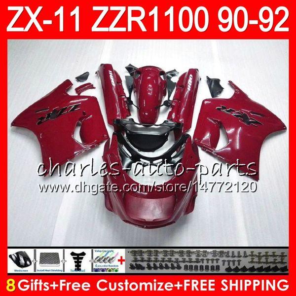 8Regalos 23Colores para KAWASAKI NINJA ZX11 ZX11R 90 91 92 ZZR 1100 rojo negro 21NO93 ZX 11 11R ZZR1100 ZX-11R ZX-11 1990 1991 1992 Kit de carenado
