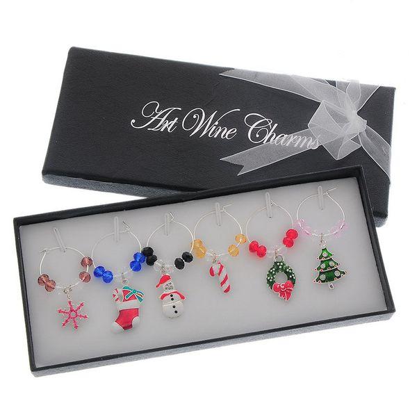 6pcs/set Wine Glass Charms Pendants Enamel Christmas Tree Wine Glass Marker Mixed Wedding Party Christmas Decoration ZA2990