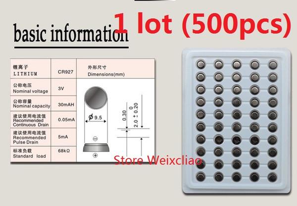 500pcs 1 lot pile CR927 3V lithium li ion pile bouton CR 927 3 volts li-ion pile de pièces plateau bac livraison gratuite