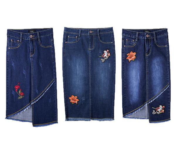 Neue Art- und Weisefrauen-Jeans-Rock-Blitz-Code-A-line-Hüfte-Kleid gestickter Cowboy-weiblicher Fehlschlag Jean Röcke Heißer Verkauf