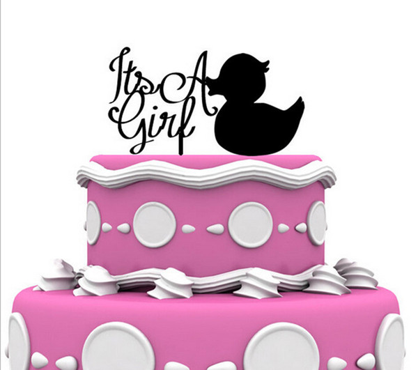 2018 ItS A Girl Black Acrylic Cake Topper With A Duck Baby Kids