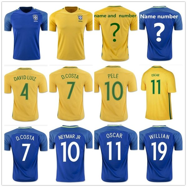 b50aa21c9 ... black brazil jersey  2017 soccer brazil jersey camisa de futebol 8  augusto 9 ronaldo 10 pele 11 oscar 11