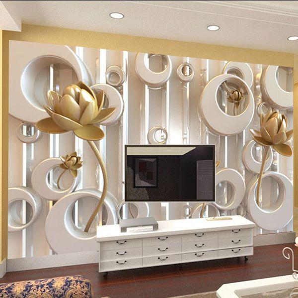 Gro Handel Tapete Golden Lotus Wohnzimmer Tv Wandtapete Hintergrund Tapete  Golden Lotus Wohnzimmer TV Wandtapete Hintergrund