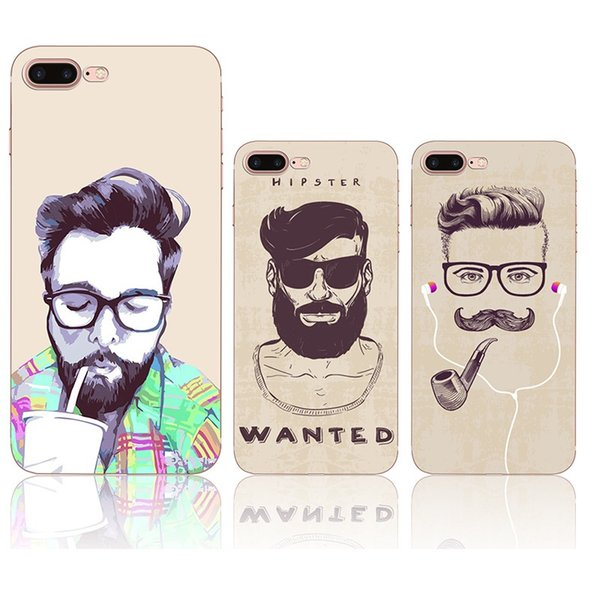 For iphone 7 silicone painting case Cartoon mustache soft TPU cases ultra thin back protective cover shell for iphone 6S 7 Plus 5S hot sale