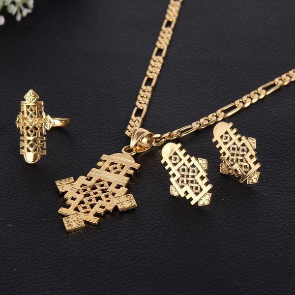 Sky talent bao Ethiopian 5.6cm*3.1cm Pendants Chain & Earrings&Ring Set 24k African Gold Corss Symbol Jewelry Set Transformer