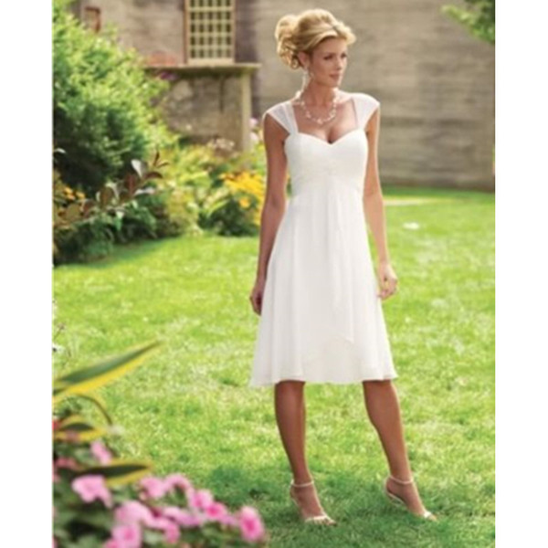 Cheap!!Garden Short Wedding Dress New 2019 Beach Chiffon Simple Cap Sleeve Hot Sale Bridal Gowns Modern Summer Style US2-26W++ Casual