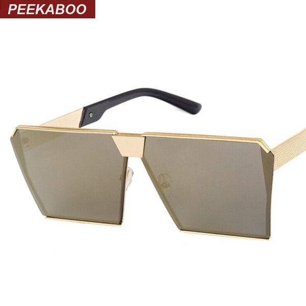 Wholesale-Peekaboo Fashion luxury square sunglasses women brand designer celebrity metal UNISEX mens oversized sunglasses mirror lens Cool