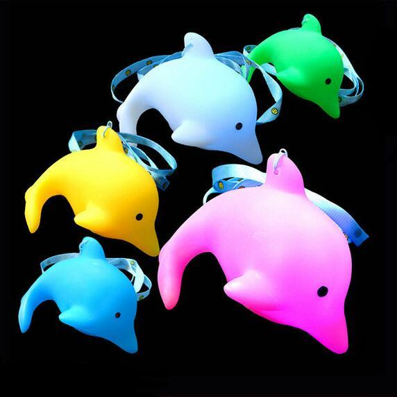 100 Pcs Blue Cute Baby Kids Lovely Toy Bath LED Dolphin Light Lamp Colorful Flashing Changing