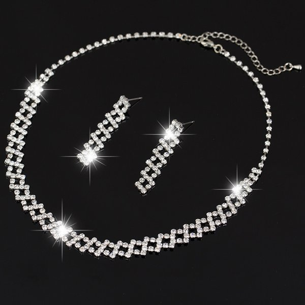 Free Shipping Fashion Jewelry Set Wholesale China sliver Plated Crystal Rhinestone Necklace Earrings Set