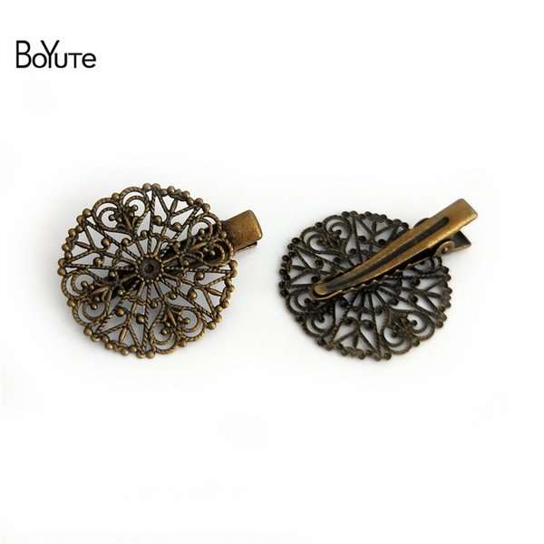 BoYuTe 10Pcs 31MM Filigree Flower Hair Clip Vintage Style 6 Colors Plated Women Hair Jewelry Hairgrip