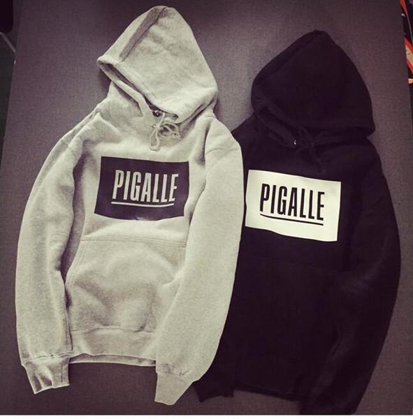 Hot men hip hop pigalle letters print hoodies lovers pullover sweatshirt male sport skateboards hooded fleece coat
