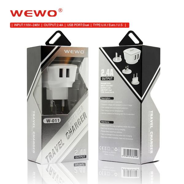 Cargador de pared Adaptador de corriente UE Reino Unido EE. UU. Plug 2.4A Cargador rápido blanco Cargadores USB dobles con paquete minorista para teléfono Android IOS iphone ipad