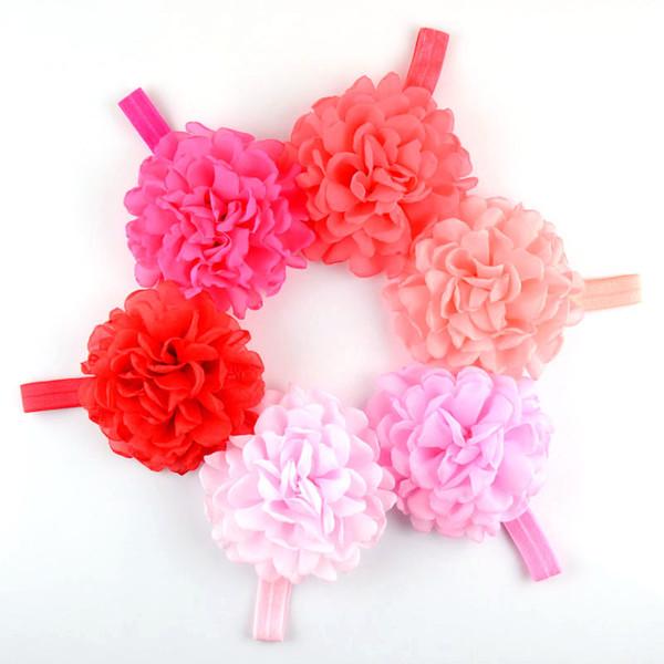 free shipping 20pcs/lot Pretty Chiffon Roast Side Flower Baby Girl Hairband Elastic Headband Kids Children DIY Hair Crafts Accessories FD165