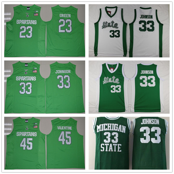 low priced cffb3 d3e0c 2018 Ncaa Michigan State Spartans College Jerseys 23 Draymond Green 45  Denzel Valentine Shirt Green White 33 Magic Johnson Basketball Jersey From  ...
