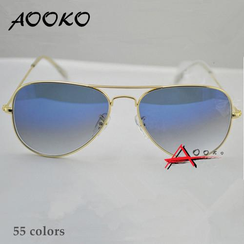 AOOKO Hot Sale Gafas Gradient Gray Blue Brown Style Mirror glass Sun Glasse oculos de sol FEMININO UV400 Men Women Sunglasses 58mm 62mm