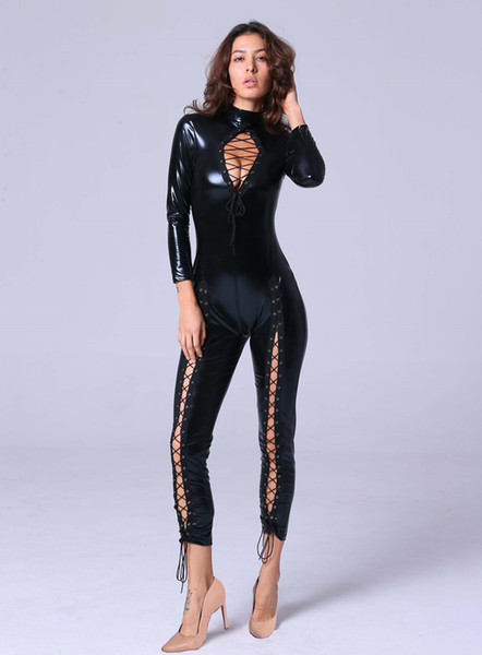 Sexy Faux Leather Jumpsuit Women Open Chest Lace Up Romper Tight-fitting Catsuit Novelty Club Party Costume