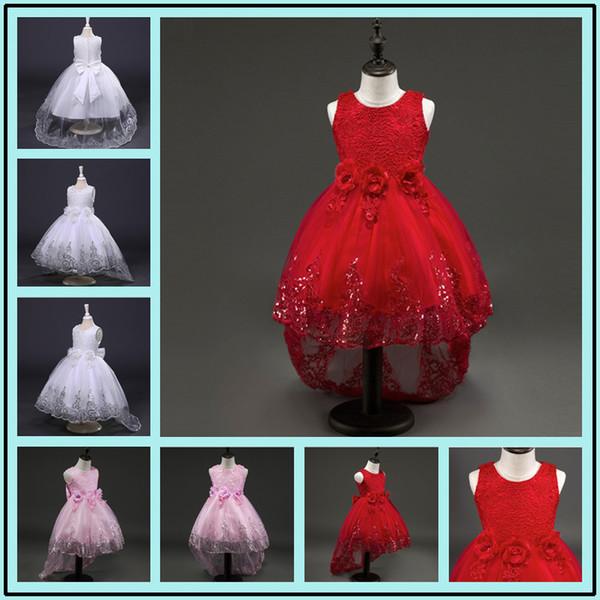2017 Yeni Yaz Bebek Kız Parti Elbise Akşam Giymek Uzun Kuyruk Kız Elbise Zarif Çiçek Kız Elbise Çocuklar Bebek Elbiseleri