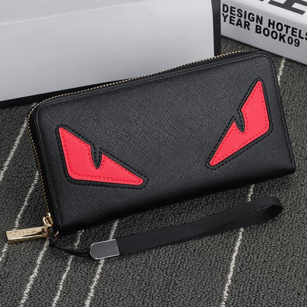 Wholesale- 2016 New brand men wallet zipper long phone clutch bag fashion high quality guarantee eyes purse clutch wallet free shipping