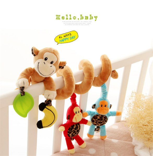 Wholesale- Hot Cute Infant Babyplay Baby Plush Stuffed Toys Activity Spiral Bed & Stroller Toy Set Hanging Bell Crib Rattles Toys For Baby