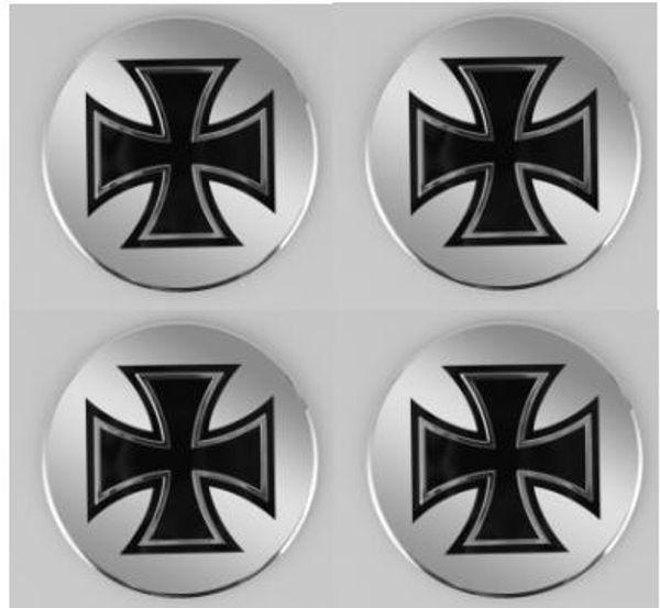 High Quality 56.5mm Aluminum alloy Sticker emblem badge Cross for Car Wheel centre cover