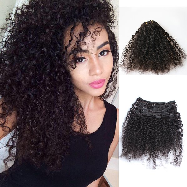 Wholesale-African American Clip In Human Hair Extensions Brazilian 3B 3C Kinky Curly Clip In Hair Extensions Kinky Curly Clip Ins