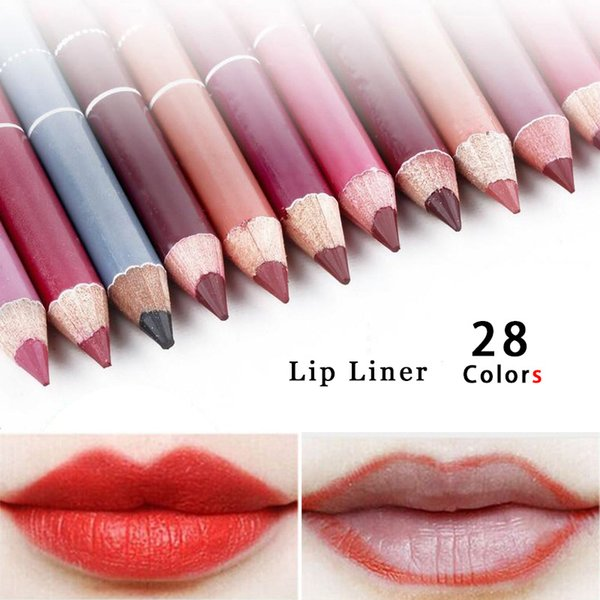 Wholesale- Professional 28 Colors 1pc Lipliner Pencil Waterproof Wooden Blend Lip Liner Pencil 16CM Per Makeup Lipstick Tool Top Quality