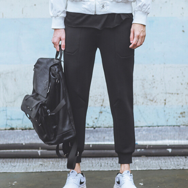 Atacado-Outono inverno calças para homens marca moda neoprene air sweatpants casual preto bolso casual lápis calças Nora501076