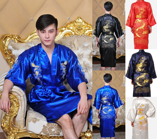 Wholesale-Fashion Navy Blue Men's Satin Silk Nightwear Novelty Bath Gown Vintage Style Kimono Free Shipping Size S M L XL XXL MR007
