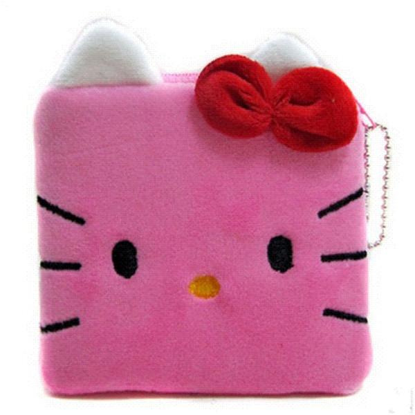 1Pcs Geldbörse Portemonnaie Damengeldbeutel Plüsch Hello Kitty Kinder Mädchen Aufbewahrungstasche Fall Handtasche Frauen Bogen Mini rosa Brieftaschen