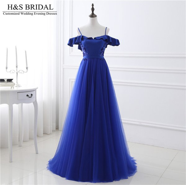 Sweetheart Off Shoulder cheap prom dresses Royal Blue real photo evening gown Tulle Beaded Backless Lace Up elegant evening gowns