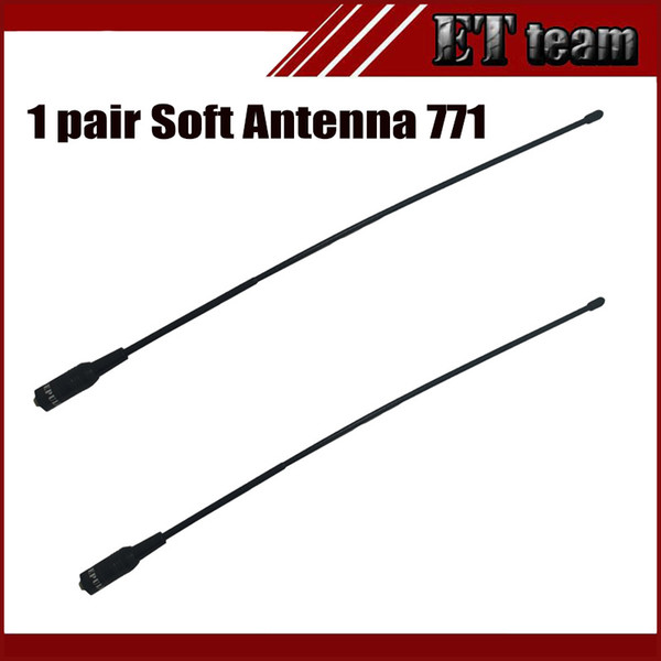 Wholesale- New 1 pair antenna 771 for walkie talkie antenna Dual Wide Band VHF/UHF SMA-F Female Soft Antenna 771 For baofeng UV-5R Radio