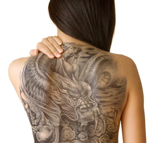 Wholesale- 48*35 cm large tattoo stickers 2016 new designs fish wolf buddha waterproof temporary flash tattoos full back chest body for men