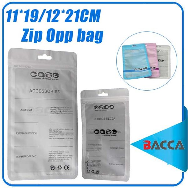 top popular 12*21cm white Zip lock Mobile phone accessories case earphone shopping packing bag OPP PP PVC Poly plastic packaging bag 2019